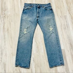 Levi's 501 Distressed Grunge Jeans